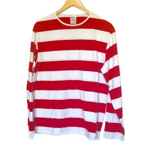 Where's Waldo red and white striped long sleeve